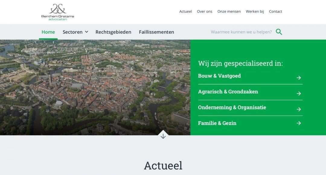 Screenshot website Benthem Gratama advocaten